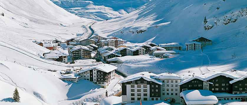 Austria, Arlberg ski area, Zurs, resort view