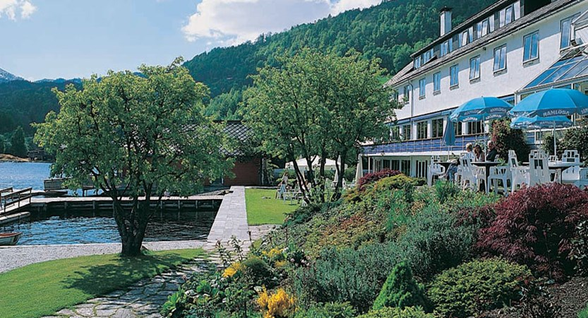 Brakanes Hotel, Ulvik, Norway - Exterior hotel with gardens and jetty.jpg