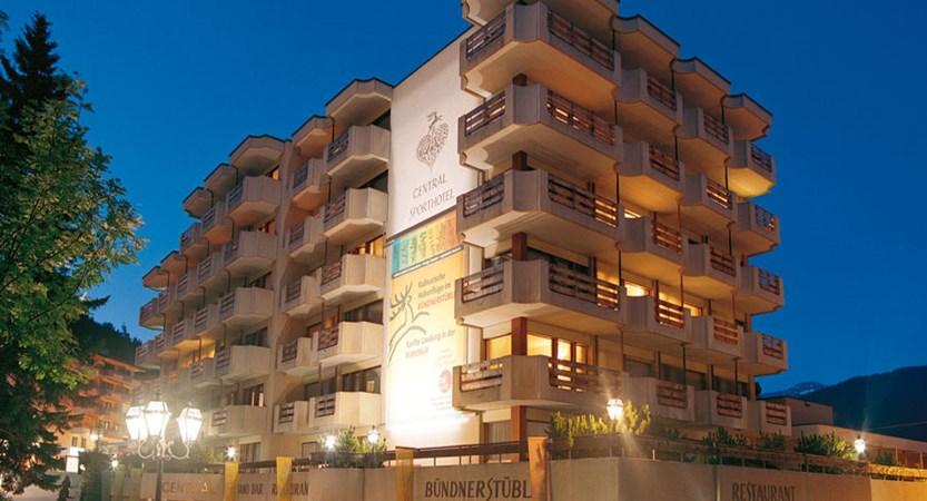 Hotel Central Sport, Davos, Graubünden, Switzerland - exterior in the evening.jpg