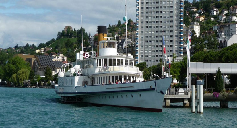 Hotel Eurotel Riviera, Montreux, Switzerland - Exterior, with boat on lake in front.jpg