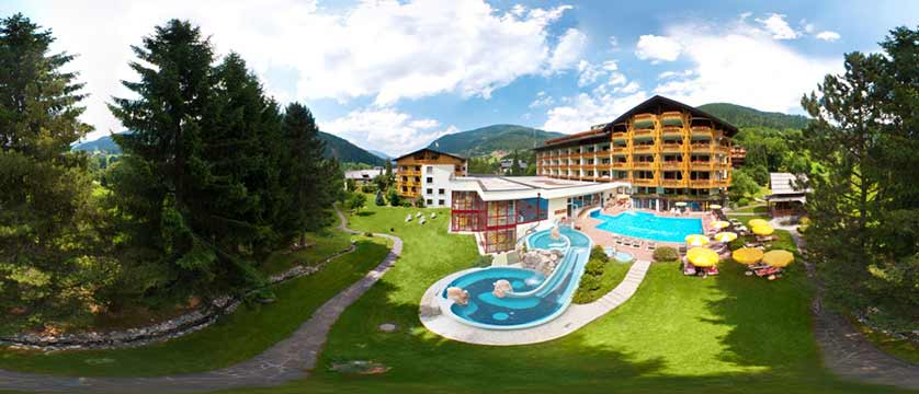Hotel Pulverer, Bad Kleinkirchheim, Austria - hotel exterior with swimming pool.jpg