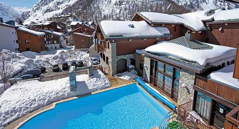 Chalets de solaise apartments - aerial pool view