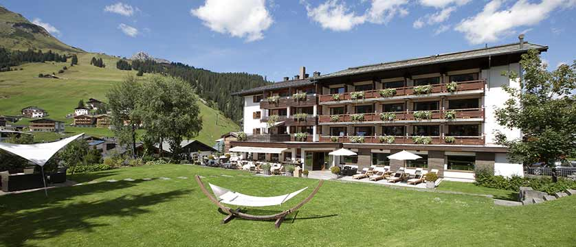 Hotel Berghof, Lech, Austria - hotel exterior in summer.jpg