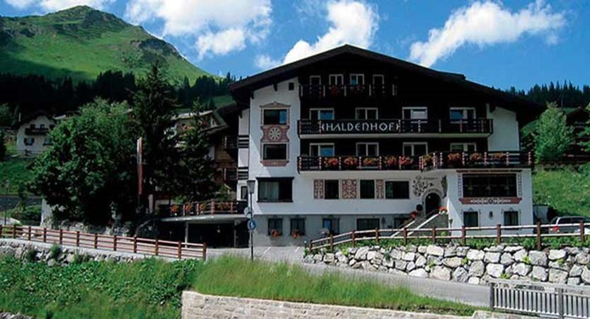 Hotel Haldenhof, Lech, Austria - hotel exterior in summer.jpg