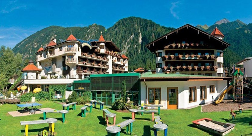 Hotel & Sporthotel Strass, Mayrhofen, Austria - Hotel exteriors with crazy golf in the foreground..jpg