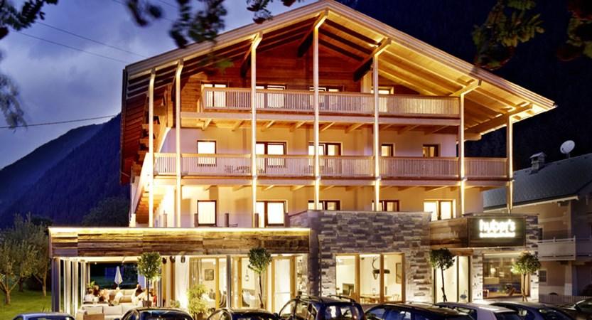 Huber's Boutique Hotel, Mayrhofen, Austria - exterior in the evening.jpg