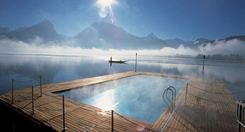 Romantik Hotel Weisses Rössl, St. Wolfgang, Salzkammergut, Austria - Heated outdoor lake pool..jpg