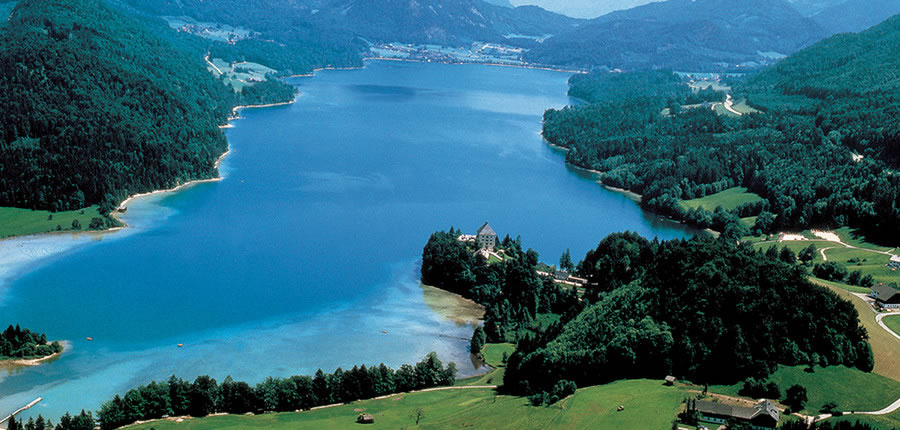 View of Salzkammergut lake in Fuschl am See