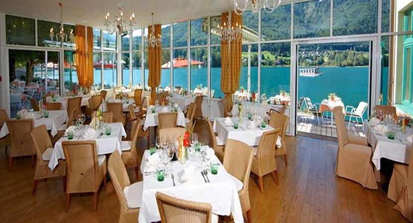 Hotel Seerose, Fuschl, Salzkammergut, Austria - Restaurant with lake view.jpg