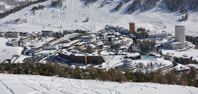Aerial view of the Milky Way Ski area, Sestriere