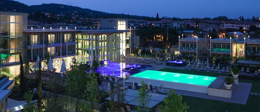 Hotel Aqualux Spa & Suite, Bardolino, Lake Garda, Italy - exterior at night.jpg