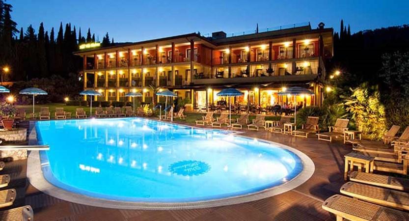 Villa Madrina Hotel, Garda, Lake Garda, Italy - Exterior at night.jpg