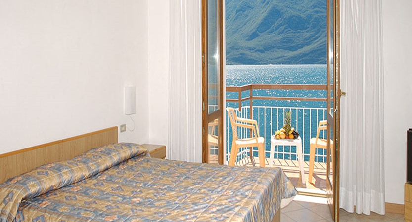 Hotel All'Azzurro, Limone, Lake Garda, Italy, - bedroom with lakeside view.jpg