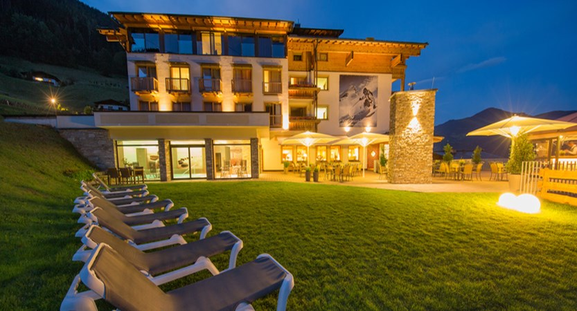 Alpine resort, zell am see, night exterior