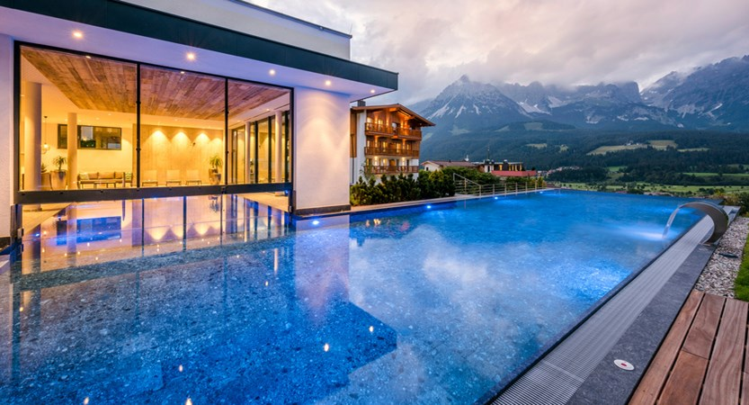 Hotel Der Baer, Ellmau, Austria, Outdoor pool evening.jpg