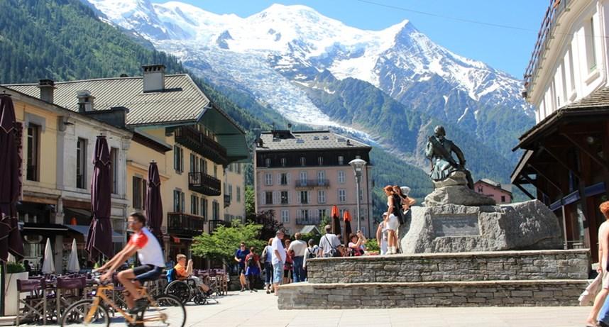 Chamonix overlooked by Mont Blanc