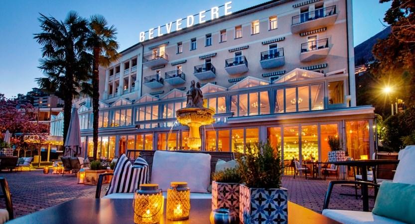 Hotel Belvedere, Locarno, Ticino, Switzerland - Evening Belvedere Facade orizzontale.jpg