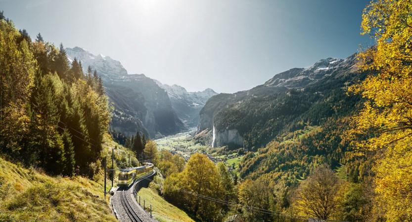 Wengernalpbahn to Lauterbrunnental Train Bernese Oberland Switzerland