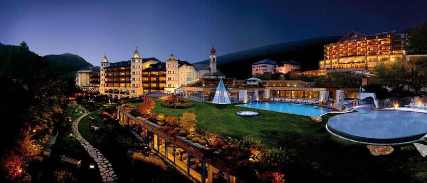 Hotel Adler Dolomiti, Ortisei, Italy - exterior at night.jpg