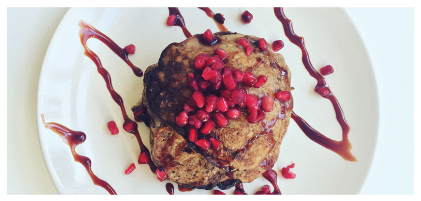 French Pomegranate & Cacao Pancakes