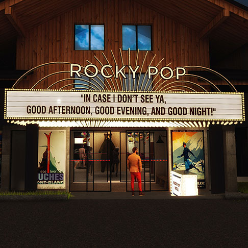 Rockypop Hotel Facade By Night