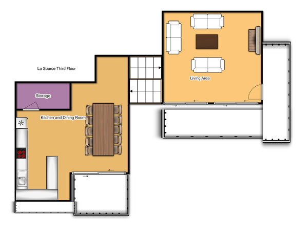 Chalet La Source Third Floor Floorplan