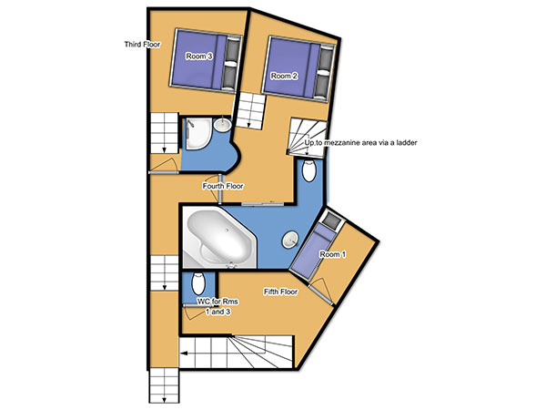 Chalet Fleurie Third/Fourth Floor Floorplan