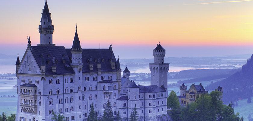 Neuschwanstein Castle at dusk