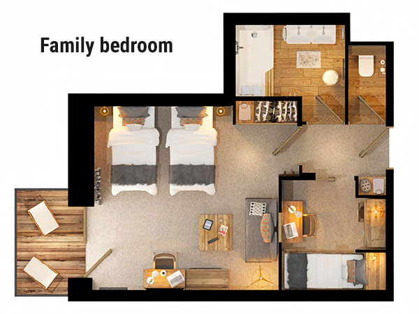 Hotel Avancher Family Bedroom Floor Plan