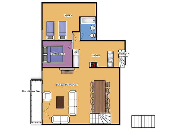 Chalet Marcel lower floorplan