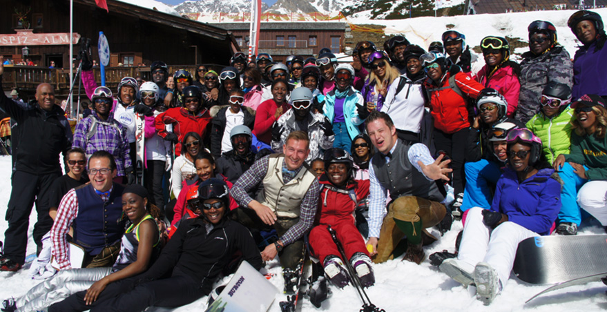 Inghams host 133 Skifest guests at the St. Christoph Chalet Hotel in the Arlberg, and here they are in the snow.