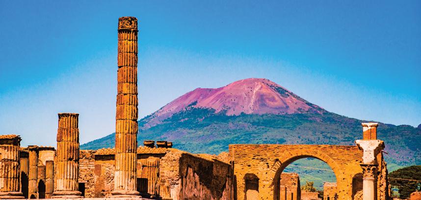 View of Vesuvius from Pompei in Italy
